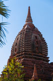 Top of red brown pagoda and blue sky Royalty Free Stock Photo