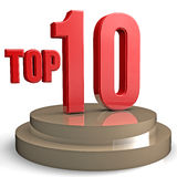 Top 10. Red 3d top 10 on a podium  concept Royalty Free Stock Images