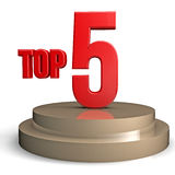Top 5. Red 3d top 5 on a podium concept stock illustration