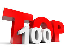 Top 100. Red 3d text. Stock Photo