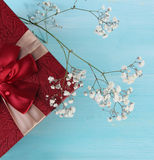 Top red gift box and flower wood background. Valentine days Concept and Decoration stock photo