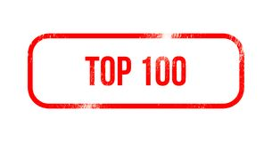 Top 100 - red grunge rubber, stamp.  stock illustration