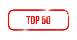 Top 50 - red grunge rubber, stamp.  Royalty Free Illustration