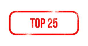 Top 25 - red grunge rubber, stamp.  Royalty Free Stock Photography