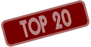 TOP 20 on red label. Royalty Free Stock Photos