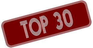 TOP 30 on red label. Illustration graphic concept image Stock Photo