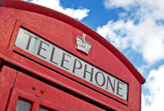 Top of a red London Telephone box Royalty Free Stock Image