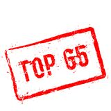 Top 65 red rubber stamp isolated on white. stock illustration