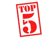 TOP 5. Red Rubber Stamp over a white background Royalty Free Stock Images