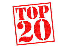 TOP 20. Red Rubber Stamp over a white background Royalty Free Stock Image