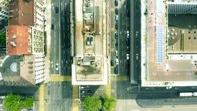 Top a?reo abajo de la vista de calles y de edificios en Ginebra, Suiza almacen de video