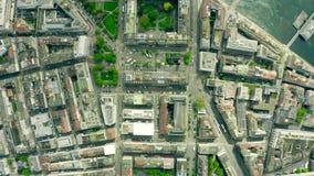 Top a?reo abajo de la vista de Ginebra, Suiza almacen de metraje de vídeo