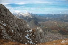 Top Ridge watzmann Snowy Mountain National Park Mittenwald, Karwendel sce. Nic, Bavaria, Germany. Nature background Landscape vacation destination stock photos
