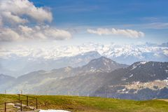 Top of Rigi Kulm Luzern Switzerland with Alps snow mountain view. Sky , cloud and lake Royalty Free Stock Photos