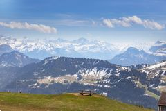 Top of Rigi Kulm Luzern Switzerland with Alps snow mountain view. Sky , cloud and lake Royalty Free Stock Photography