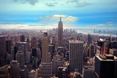Modern buildings, new york city. Top of the rock, modern buildings new york city royalty free stock photo