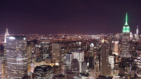Top of the rock night panorama 4k time lapse from new york city stock video