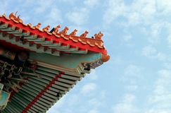 Top roof of chinese temple. Colorful on the top roof of chinese temple in Bangkok Stock Image