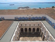 On top of the roof of Sao Vicente de Fora in Lisbon in royalty free stock image