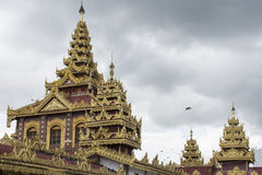Top roof of Shwedagon pagoda in heart of Yangon,Myanmar Royalty Free Stock Images