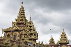 Top roof of Shwedagon pagoda in heart of Yangon,Myanmar Stock Photos