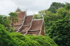 Top of roof worship in Buddha wiht blue sky , Chapel of Buddha in Loas. Roof architecture Buddhist temple Wat Xieng Thong ChaingtongWat has a covered tree in royalty free stock photo