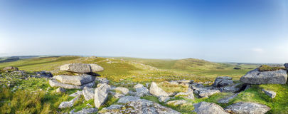 The Top of Roughtor on Bodmin Moor. A panoramic view from Roughtor also known as Rough Toron Bodmin Moor, one of the highest points in Cornwall Royalty Free Stock Photos