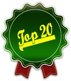 TOP 20 round green ribbon. Illustration graphic design concept image Royalty Free Stock Image