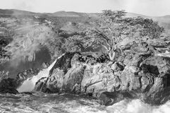 The Ruacana waterfalls, Namibia. Monochrome royalty free stock images