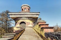 The top of The Ruin Tower in the Catherine Park in Tsarskoye Selo. Tsarskoye Selo Pushkin, Russia. The top of The Ruin Tower in the Catherine Park Royalty Free Stock Image