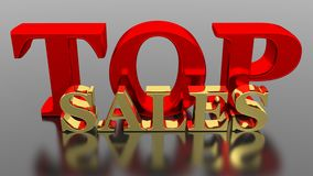 TOP Sales. In red and golden letters on a black reflective board stock illustration