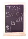 Top Sales Sign. Sales sign on chalkboard - isolated on white background Royalty Free Stock Images