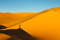 On Top of the Sand Dune, Awbari Sand Sea, Sahara Stock Photos