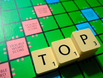 Top scrabble. Scrabble board and word, top. Great for news articles on business success, or success in languages Stock Images