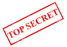 Top secret. A large stamp with red inked letters with the word TOP SECRET in a red box.  White background Stock Photos