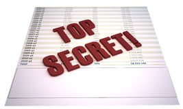 Top secret. Financial file with red 3d stamp saying Top Secret!. illustration is isolated on white background Stock Photo