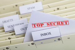 Top Secret. Symbol for email privacy - Letter in a register inbox Royalty Free Stock Photos