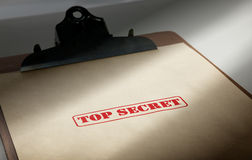 Top secret. Marked top secret on a pile of documents Stock Photo
