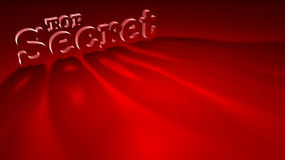 Top Secret. 3D translucent letters spelling top secret on red background with dramatic shadows Royalty Free Stock Image