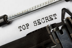 Top secret. The phrase Top Secret written with old typewriter Stock Photo
