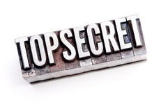 Top Secret. The phrase Top Secret in letterpress type. Cross processed & narrow focus Stock Photography