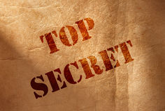 Top secret. Close up on top secret heading Stock Photo