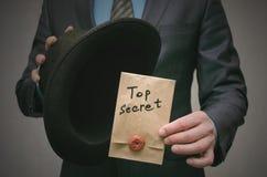 Top secret concept. Business man showing a Top secret documents or message in his hands. Top secret concept. Open the secret. Business man takes out secret Stock Photo