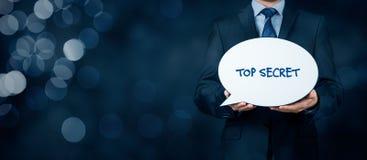 Top secret concept. Businessman with speech bubble representing communication stock images