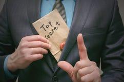 Top secret documents concept. Super important information. Confidential message. Top secret concept. Top secret documents or message in businessman hands royalty free stock images