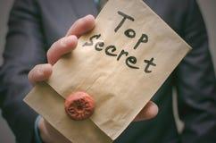 Top secret documents concept. Super important information. Confidential message. Top secret concept. Top secret documents or message in businessman hands royalty free stock photography