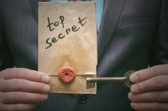Top secret message concept. Super important information. Confidential dossier. Decryption key. Top secret concept. Top secret documents or message and a Stock Photo