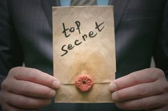 Top secret concept. Super important information. Confidential dossier. Top secret concept. Top secret documents or message in businessman hands. Confidential royalty free stock images