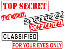 Top Secret, Confidential, Classified File Grunge S. Top secret. For your eyes only, confidential, and classified stamps. Image isolated over white background stock illustration