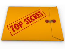 Top Secret Confidential Envelope Secret. A yellow envelope with a red stamp with the words Top Secret conveying that the information inside is a secret, private Royalty Free Stock Photo